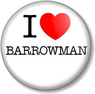I Love / Heart BARROWMAN Pinback Button Badge John Singer Torchwood Doctor Who